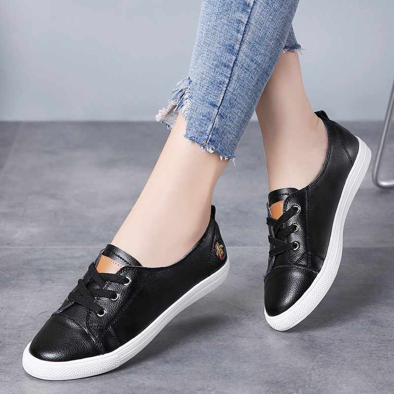 Plardin New Women Shoes Suede Sneakers Lace Up Round Toe Cross Tied Spring Ballet Boat  Casual Student Shoes Ladies Moccains
