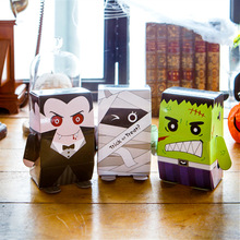20 Pcs Halloween Box Vampire Mummy Hulk Gift Bag Packaging Creativity Cartoon Cookies Candy Kids Party Decoration