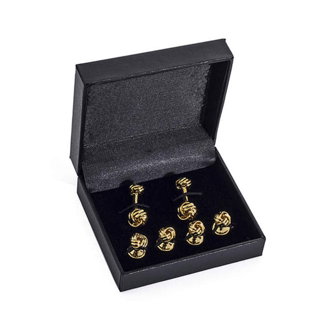 Black Leather Cufflink Box Show Case For 6 sets