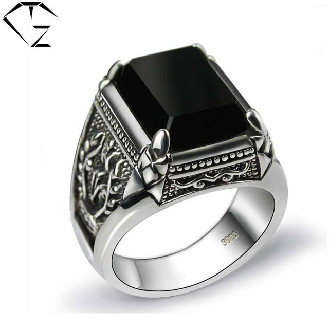 Black Stone Ring 925 Sterling Silver Marcasite Mens Punk