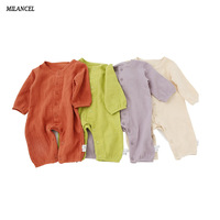 Milancel Infant Baby Rompers Autumn Clothes Newborn Baby Boys Girls Romper Cotton Jumpsuit Solid Baby Outerwear
