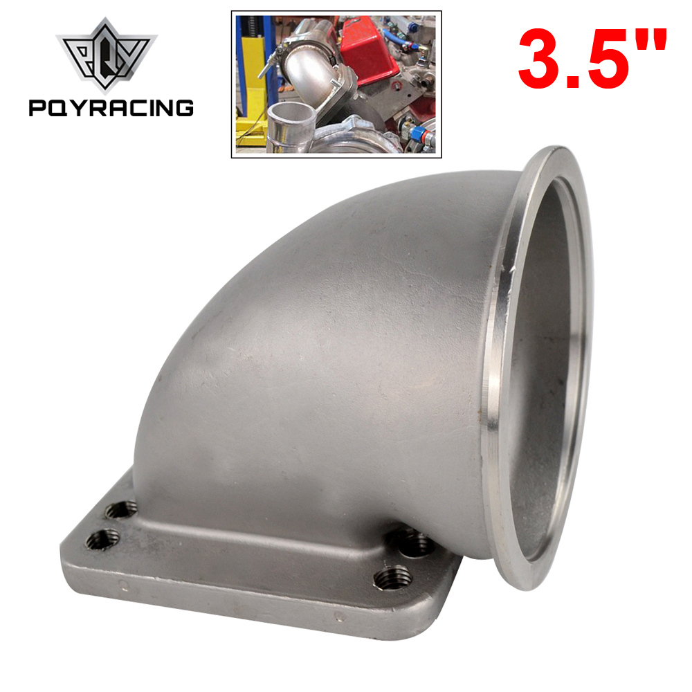 PQY 3.5 Vband 90 Degree Cast Turbo Elbow Adapter Flange 304 Stainless Steel For T3 T4 Turbocharger PQY TEA35