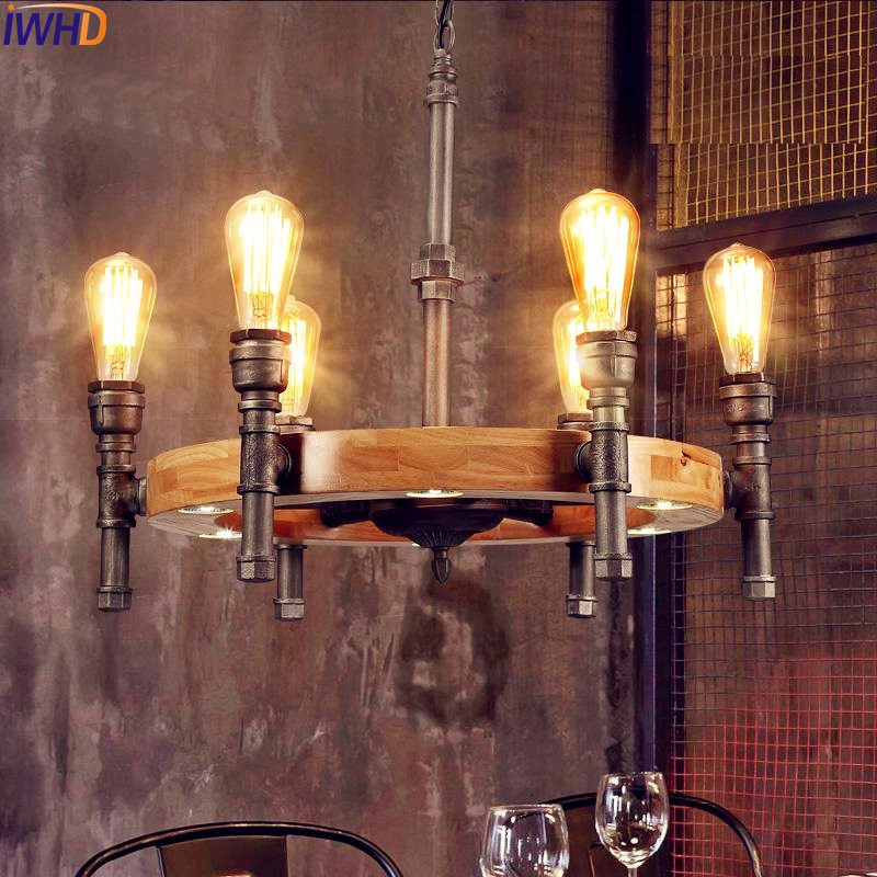Loft Style Industrial Pendant Lighting Fixtures Dinning Room Water Pipe Retro Vintage Lamp Edison Pendant Light LED Lampen