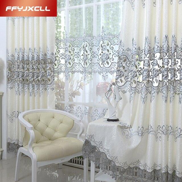 Luxe Europa Geborduurde Tule Gordijnen Voor woonkamer Slaapkamer Verduisteringsgordijnen Window Behandeling Gordijnen Home Decor