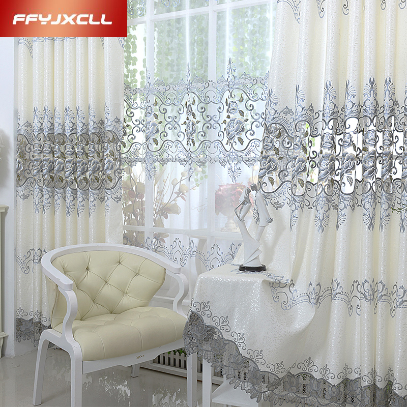 Luxury Europe Embroidered Tulle Window Curtains For Living