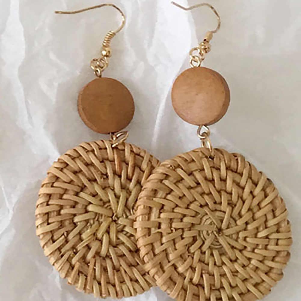 Эксклюзивные элегантные серьги из ротанга, Висячие плетеная подвеска ручной работы, длинные соломенные деревянные висячие серьги из лозы