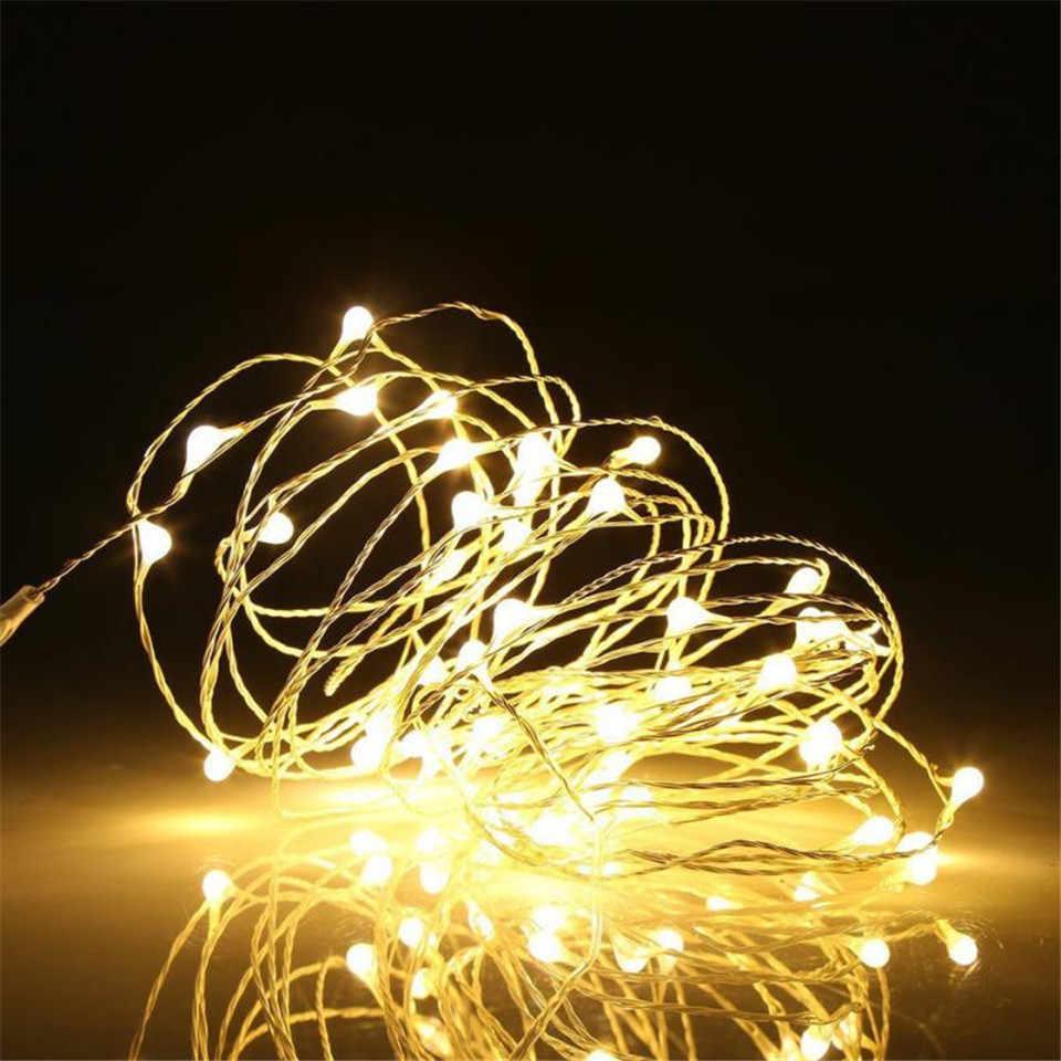 Tira de lámpara Led no impermeable de alambre de plata cortina decoración de habitación romántica cadena de luces 1/2/3/5 /10 M