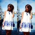Sexy Verano de Las Mujeres Vestido de Estampado Floral Delgado Cortocircuito de La Gasa de la Playa Del Mini Vestido 4 Tamaño