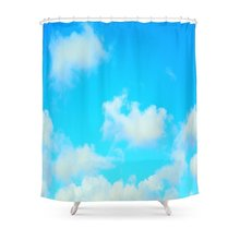 White Clouds Bright Blue Sky Shower Curtain Polyester Fabric Bathroom Home Decoration Waterproof Print Curtains