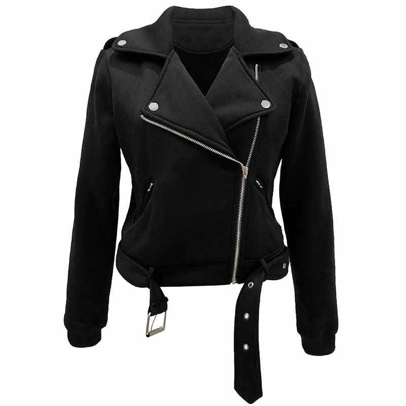 Осень 2019 Готическая теплая Уличная Повседневная Женская куртка Повседневная белая тонкая сплошная молния плюс размер пальто женское крутое пальто
