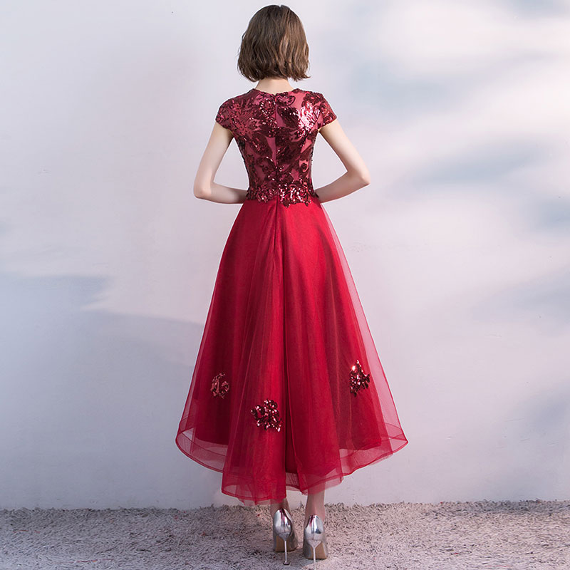 FADISTEE Hot sale short dresses high-low back cocktail party zipper simple style satin sequin Burgundy prom dress style 5