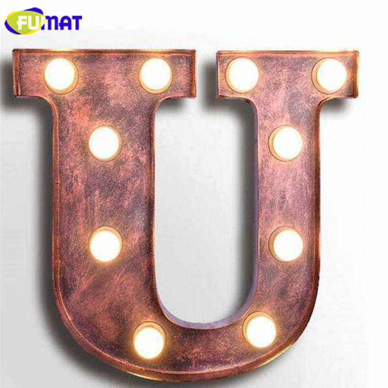 FUMAT Vintage Alphabet U Wall Lamps Cafe Bar Art Deco Logo Wall Sconce Living Room Dinning Room Aisle Corridor Cafe Wall Light
