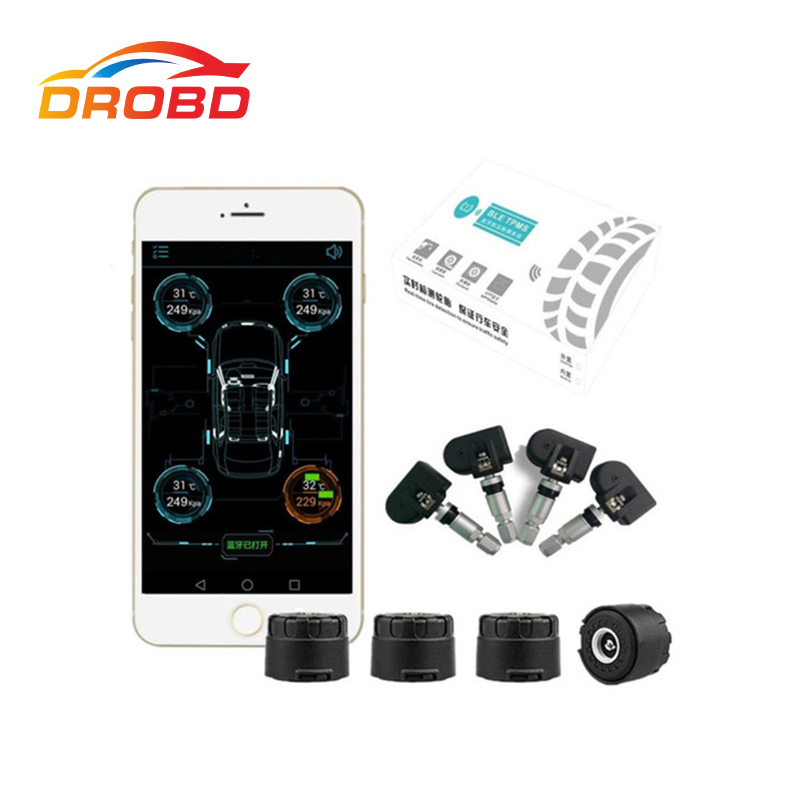 Smart Car TPMS Bluetooth 4.0 Tire Pressure Monitoring System APP Display 4 Internal/External Monitoring Support Android & IOS 2017 tpms the new tp200 car tire pressure monitoring system car tire diagnostic tool support bar and psi