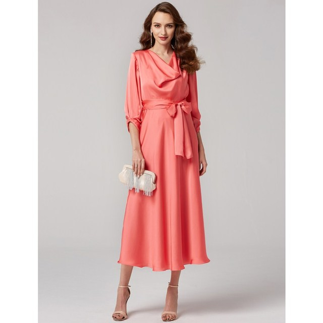 Formal Cowl Neck Dress with Bow