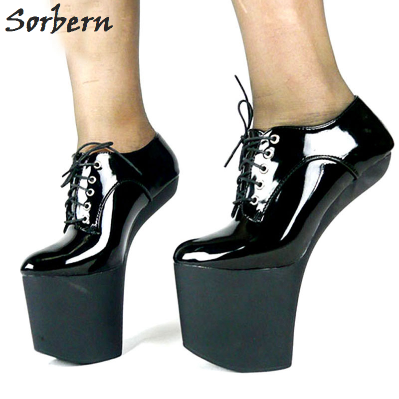Sorbern Sexy Extreme High heel Strange Hoof Heelless Woman Shoes 2018 pointed Toe Lace Up Ankle Woman BootsSorbern Sexy Extreme High heel Strange Hoof Heelless Woman Shoes 2018 pointed Toe Lace Up Ankle Woman Boots
