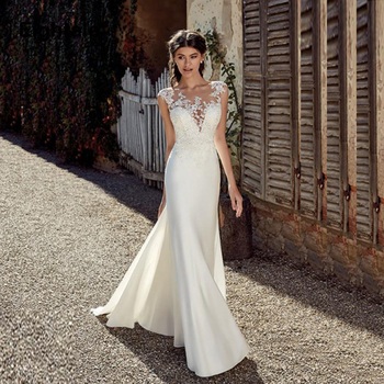 Eightale Princess Mermaid Wedding Dresses Turkey O-Neck Appliques Lace Bridal Dress Cap Sleeves Gown vestidos de noiva