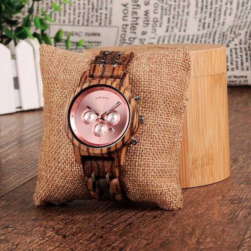Image 5 - BOBO BIRD Women Wooden Watches Orologio da donna Luxury Wood Metal Strap Chronograph Date Ladies Quartz Watch Timepieces-in Women's Watches from Watches