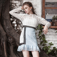 New Western Style With Color Lace Dress Female Waist Slim Tail Type E0725