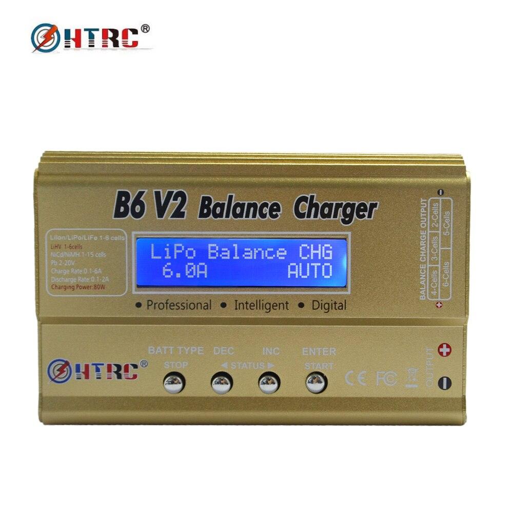 HTRC V2 80 W 6A imax B6 Digital RC Carregador Equilíbrio descarregador para LiHV LiPo LiIon LiFe NiCd NiMH 15 V 6A Adaptador de Alimentação AC Opcional