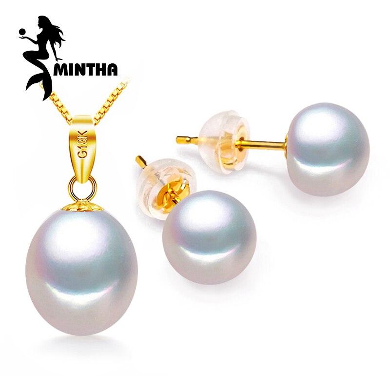 Boucles d'oreilles MINTHA en or 18 k, bijoux en perles, pendentif en or 18 K, colliers et pendentifs pour amoureux, colliers en argent s925
