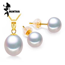 MINTHA 18k gold earrings pearl jewelry,18K Gold pendant pearl Jewelry necklaces & pendant for lovers send s925 silver necklaces