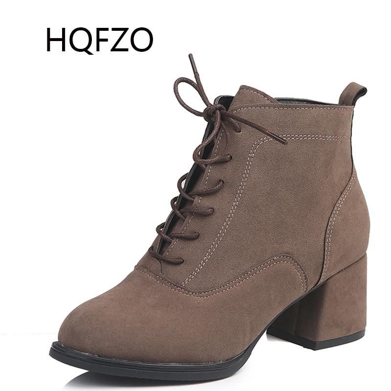 HQFZO High Heels Women Boots Fashion Round Toe Zipper Platform Ankle Boots  Autumn Winter Women Shoes d857226e8946