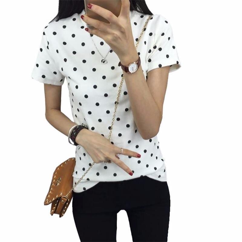 HTB17MR8LXXXXXbcapXXq6xXFXXXK - Women's T-Shirt  Polka Black Dotted Clothes Shirt