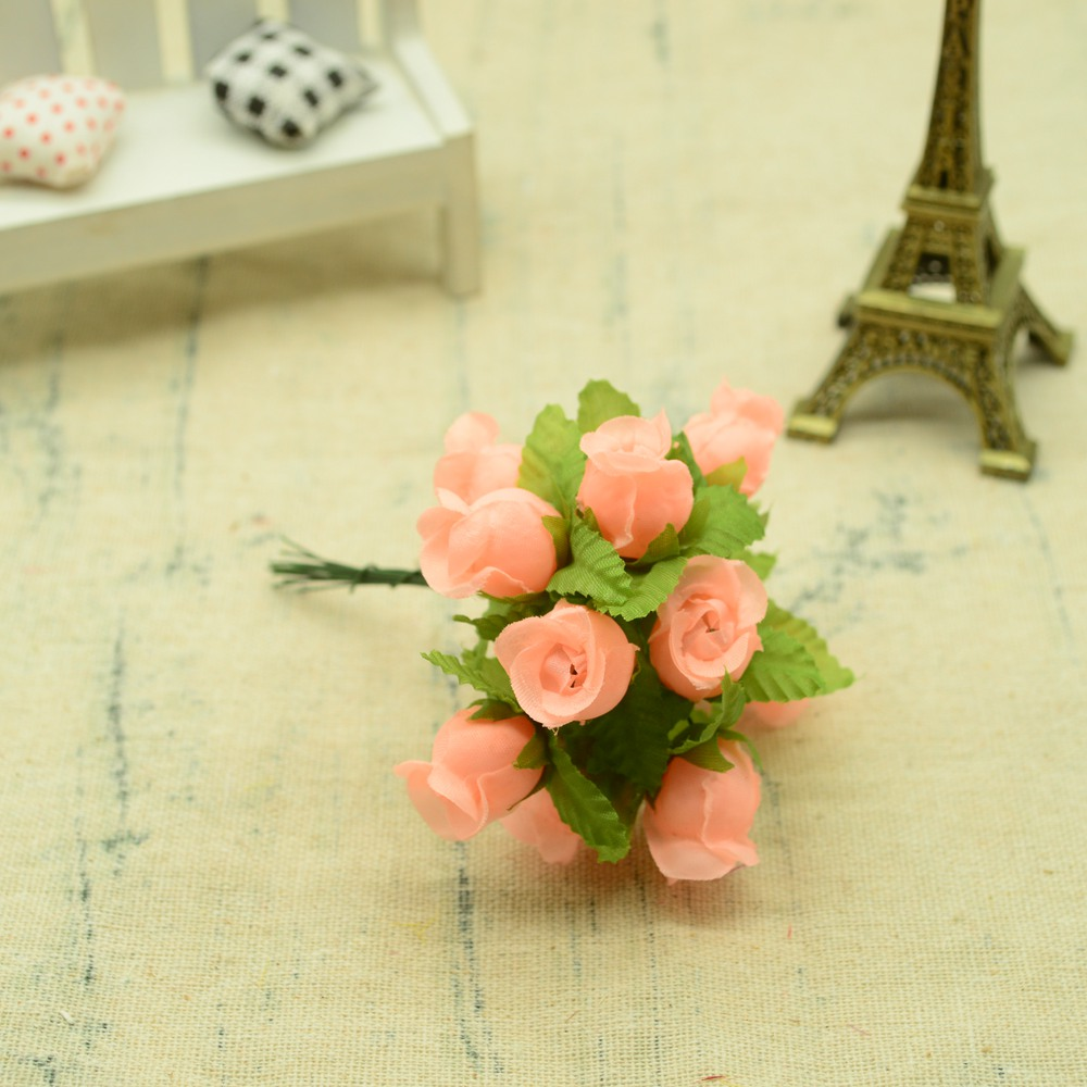 12pcs Silk Roses Artificial Flowers Bouquet for Home And Wedding Decoration Accessories 11