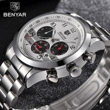 ผู้ชาย Benyar Luxury Chronograph กีฬาชายนาฬิกาสแตนเลสทหารทหารนาฬิกาข้อมือ Relogio Masculino 5107
