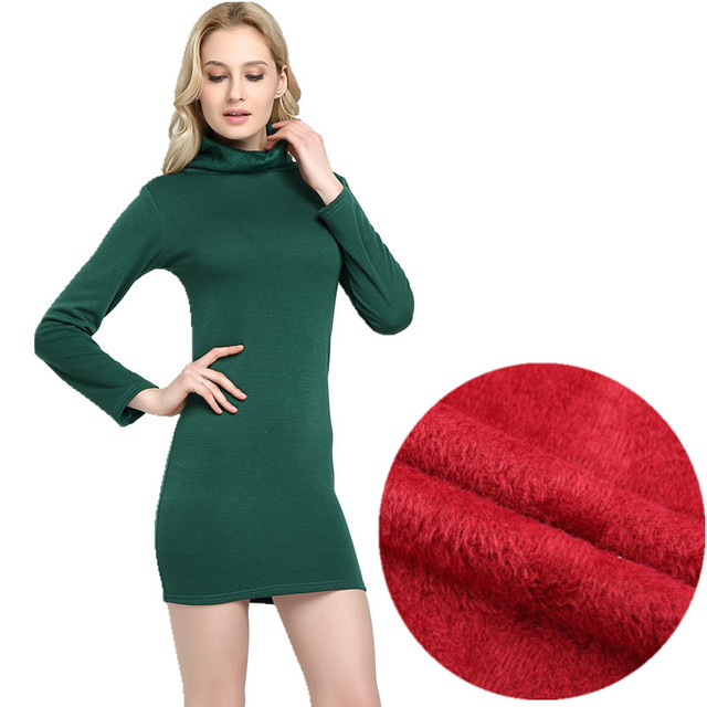 WKOUD 2018 Winter Dress Fleeces Thickening Hot Warm Dresses For Women  Turtleneck Solid Dress Feminino Casual Mini Vestidos L8283 20ba85d95c4b