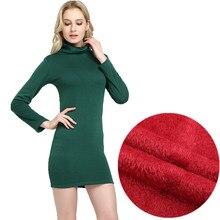 WKOUD 2018 Winter Dress Fleeces Thickening Hot Warm Dresses For Women Turtleneck Solid Dress Feminino Casual Mini Vestidos L8283