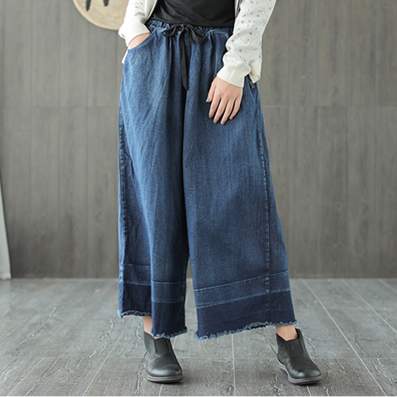 Johnature Women   Wide     Leg     Pants   Elastic Waist Denim Cotton Trouser 2018 Autumn New Loose Patchwork Casual Women Blue   Pants