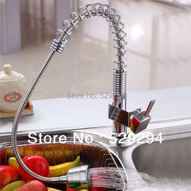 Kitchen Sink tap water faucet with pull out flexible spray brass body chrome plating deck mounted