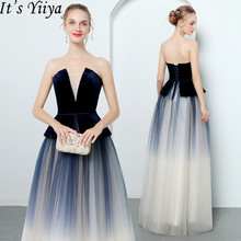 Its YiiYa Strapless Evening Dress Gradient Color Navy Blue Prom dresses Spaghetti Strap Lace Up Long Party Gowns E127