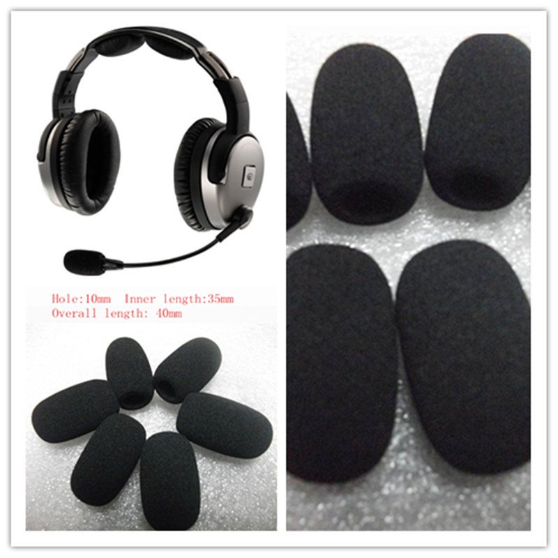 Linhuipad 4pcs Foam Microphone Windscreen Windshield Aviation Headset Mic Muff For Lightspeed ANR Headsets