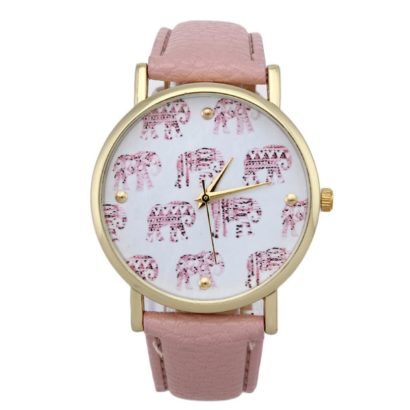 Superior New Style Women Girl Elephant Pattern Faux Leather Band Quartz Dial Watch Female Wristwatches Relogio Feminino Nov 7