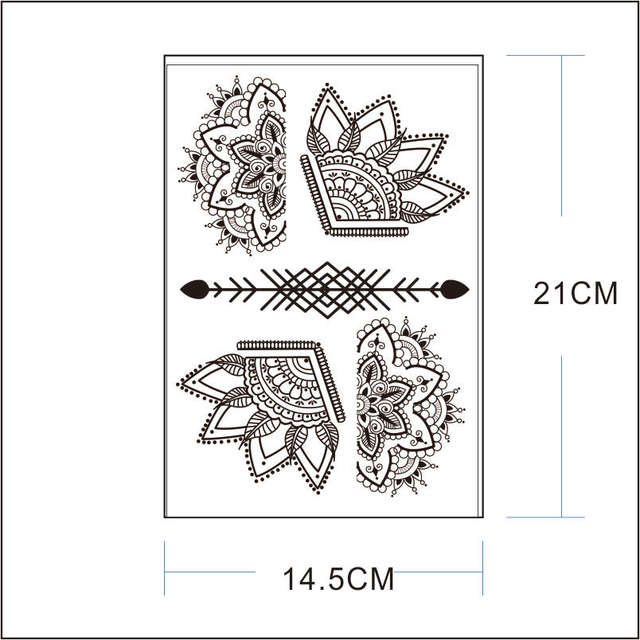 Us 149 25 Offbh 15 Beautiful Half Lotus Black Henna Temporary Tattoo With Arrow Pattern Inspired Body Sticker In Temporary Tattoos From Beauty