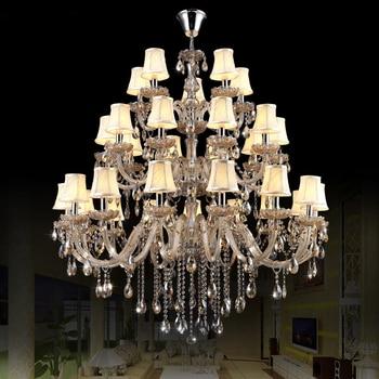 Cristal y chrome chandelier vestíbulo del hotel egipcio cristal lámparas foyer araña cristalina larga salón llevó la lámpara mano araña de cristal soplado araña de Murano italiano araña de cromo modernoaraña de vela