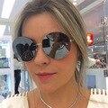 Newest Fashion Retro Women Ladies Round Sunglasses Brand Designer Reflective Coating Lens Eyewear Accessories Sunglasses Oculos