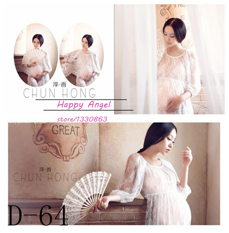 Photography Props long Dress for Maternity pregnant women Pregnancy white Elegant Fashion Photo Shoot Baby Shower Free shipping maternity pregnant women photography fashion props long dress white romatic see through personal portrait nightdress size s l