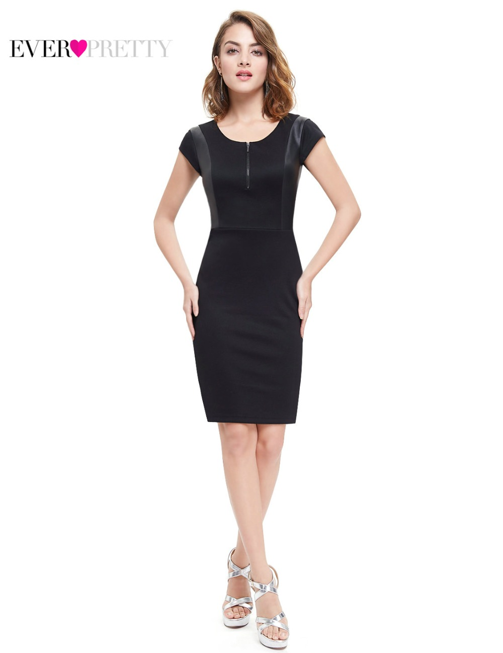 Ever Pretty 2018 Clearance Style Cocktail Dress Black Sexy Stretchy Women Dresses A-line Cocktail Dresses XXKB60350EHA