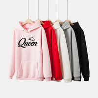 harajuku kpop bts black pink king queen hoodie long sleeved pullovers winter hoodies women female sweatshirts fleece winter