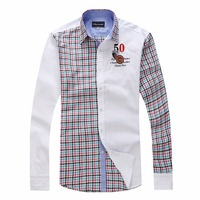 Faconnable High Quality 2017 Spring Fashion Brand Men Clothes Slim Fit Long Sleeve Shirt Patchwork Plaid