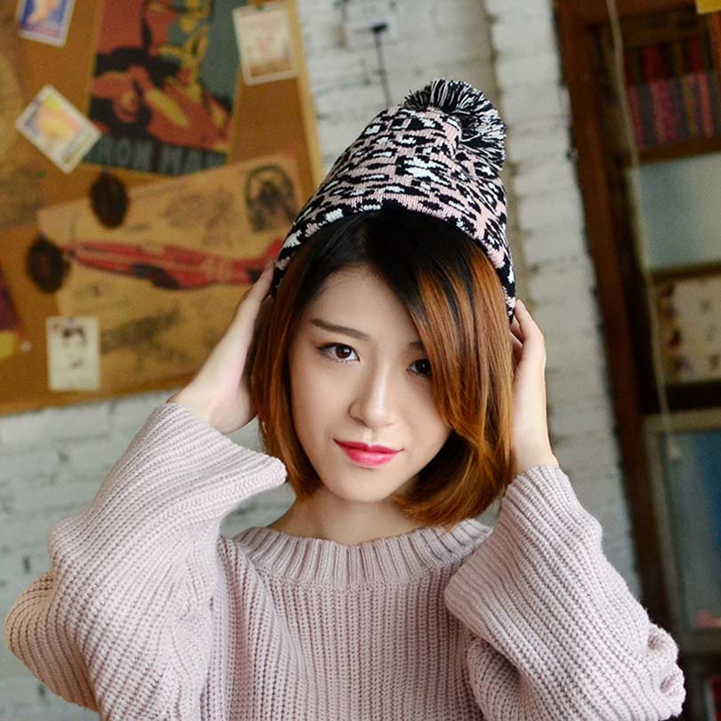 4315e448a0765 New Fashion Women Beanie Hat Leopard women Cap Spring Autumn Winter ladies  Hats  Caps Leopard Print Knitted Winter Female Hat-in Skullies   Beanies from ...
