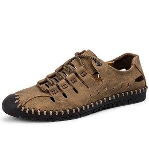 Image 2 - 2019 neue Sommer Männer Aus Echtem Leder Sandalen Business Casual Schuhe Männer Im Freien Strand Sandalen Römischen Männer Sommer Wasser Schuhe Größe 48