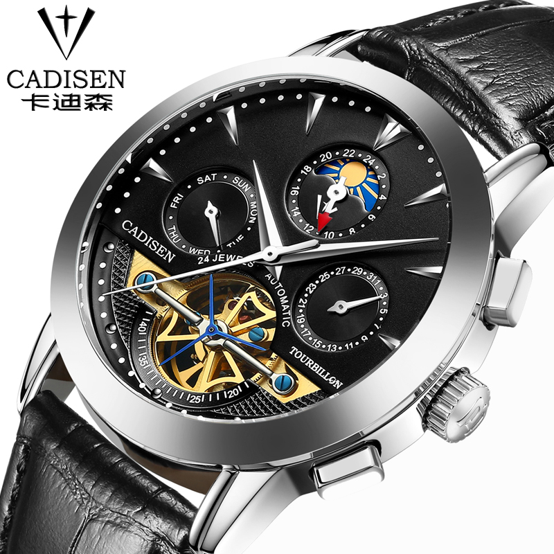 luxury brand watch Diver waterproof leather strap watch Men's business casual watch cadisen Automatic mechanical watches relogio