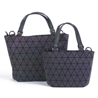 Japan PROMOTION Luminous bag Women Geometry Diamond Shoulder Bags Laser Plain Folding Handbags Free Shipping hologram bag