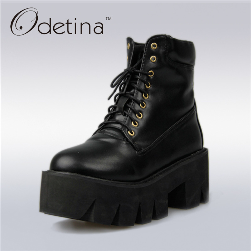 Odetina 2017 New Spring Platform Ankle Boots Women Lace Up Thick Sole Martin Boots Vintage Wedges Shoes High Heel Big Size 33-43 new spring autumn women boots black high heels thick heel boots lace up platform ankle boots large size 34 43