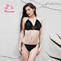 PACENT Knitted Handmade Crochet Bikini Set Women Swimsuit Bandeau Fur Brazilian Biquini Swimwear Female Solid Black
