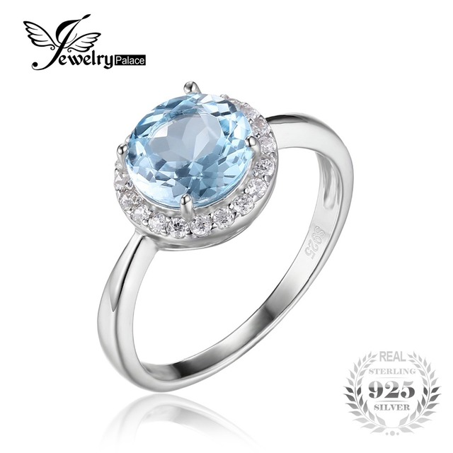 JewelryPalace 2.7ct Natural Sky Blue White Topaz Halo Solitaire Engagement Ring 925 Sterling Silver Jewelry For Women Nice Gift